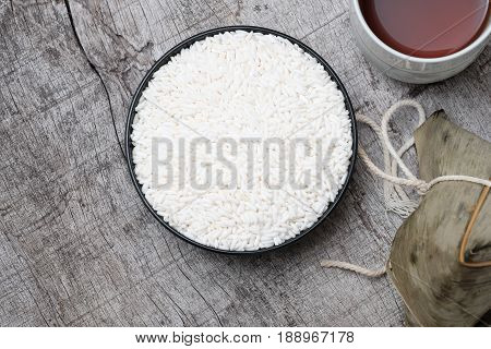 White Glutinous Rice  And Glutinous Rice Dumpling