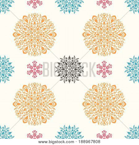 Vector seamless pattern with ornamental round design elements