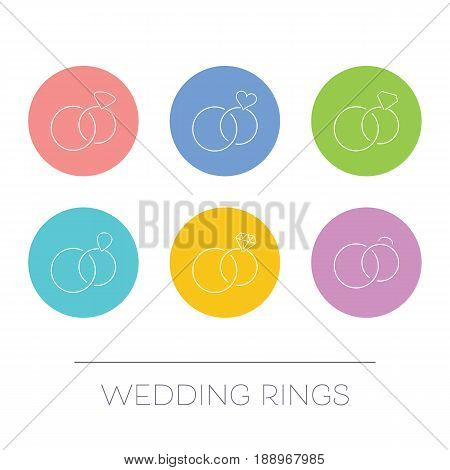 White thin line vector wedding rings circle icons