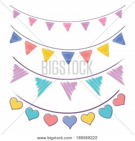 Vector vintage bunting flags and garlands set isolated