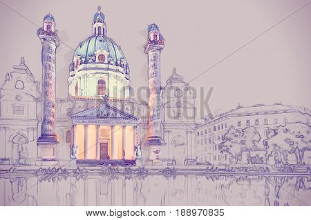 Karlskirche or St. Charles's Church - one of famous churches in Vienna, Austria. Modern Painting. Brushed artwork based on photo. Background texture.