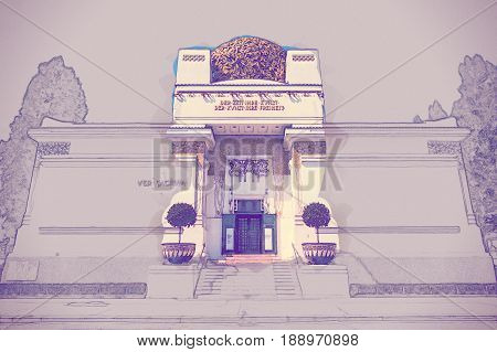 The Secession Building, Vienna, Austria. Modern Painting. Brushed artwork based on photo.