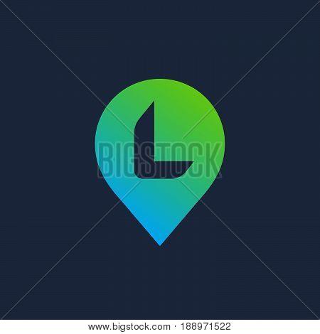 Letter L Geotag Logo Icon Design Template Elements