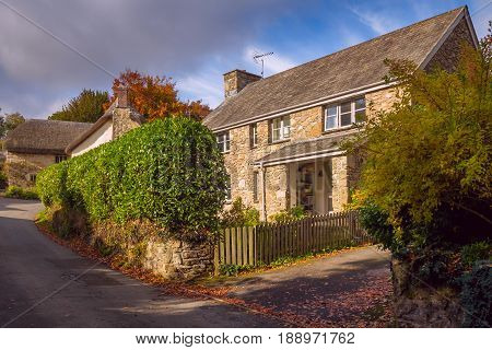 Quiet street in the English countryside. Sunny day. Autumn. Throwleigh. Devonshire. England