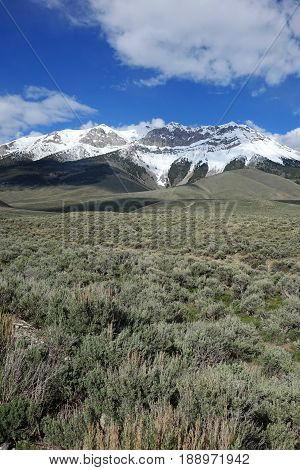 The Lost River Mountain Range between Challis and Mackay, Idaho provides a beautiful backdrop for sagebrush prairie.