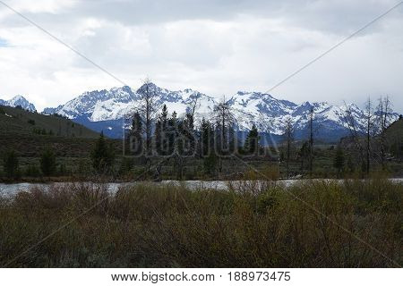 Sawtooth Mountains and Salmon River near Lower Stanley, Idaho.
