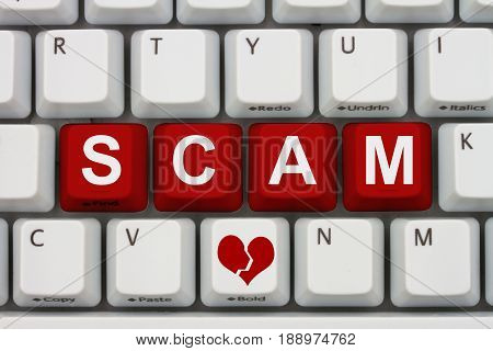 Dating scams on the internet A close-up of a keyboard with red highlighted text Scam 3D Illustration