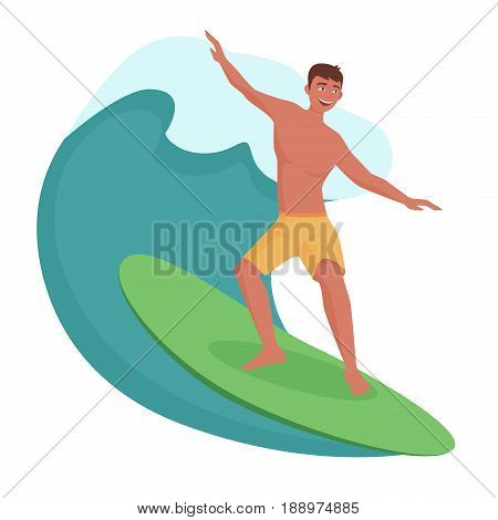 Surfer on the wave isolated. Vector illustration