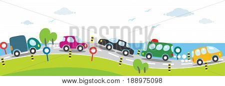 Children vector illustration of small funny cars, going near the sea. Horizontal seamless background or pattern.