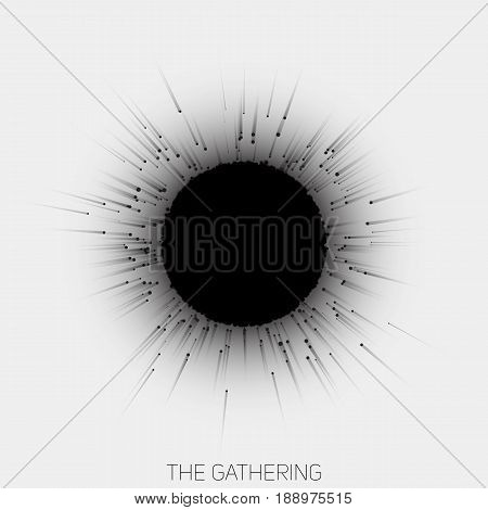 Gathering of point with trails to central object. Nuclear reaction vector illustration. Abstract black and white concept of collaboration. Magnetic attraction of objects to central formation.