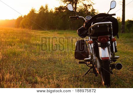 Classic Motorcycle At Sunset,