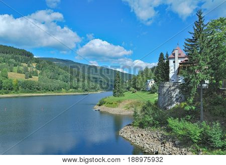 at Elbe Reservoir near Spindleruv Mlyn in Krkonose Mountains,Czech Republic