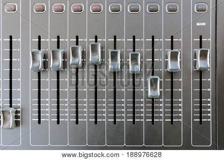 Professional audio mixing console buttons. Top view