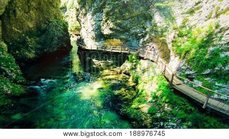 aerial view of mountain river in the vintgar gorge near bled, slovenia. tourists are walking on wooden footpaths through the gorge.