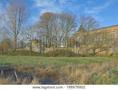 historic Village of Zons at Rhine River in Rhineland,North Rhine Westphalia,Germany