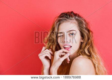 Winking Woman With Long Beautiful Hair And No Makeup