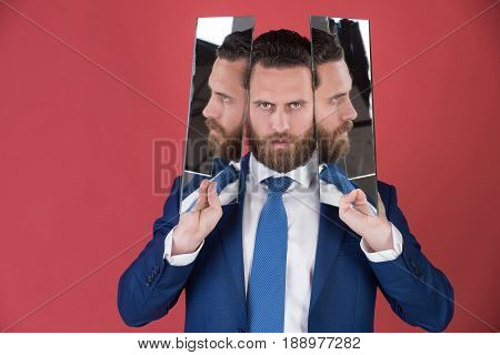 Man, Bearded Serious Businessman Reflecting In Mirror