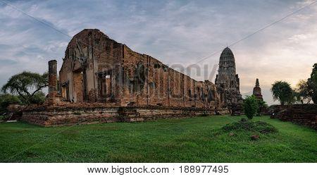 Historic ancient temple at Ayuttaya in Thailand.