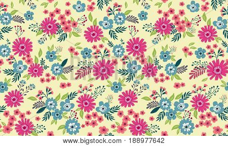Vector seamless pattern. Cute pattern in small flower. Small colorful flowers. Light yellow background. Ditsy floral background. The elegant the template for fashion prints.