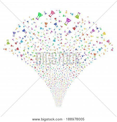 Chemistry salute stream. Vector illustration style is flat bright multicolored iconic symbols on a white background. Object source fountain constructed from random pictograms.