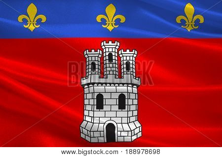 Flag of Castellane is a commune in the Alpes-de-Haute-Provence department in southeastern France. 3d illustration