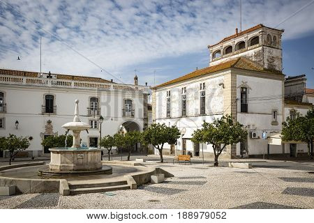 Praca da Republica square in Monforte town, District of Portalegre, Portugal