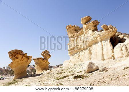 Erosion in Mazarron beach. Murcia province. Spain