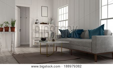 Small cozy living room with large sofa, bookcase, coffee table and potted plants lit by two bright windows in a low angle view. 3d rendering