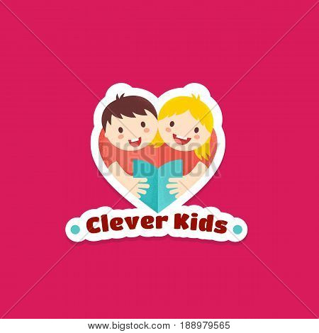 Clever Kids Abstract Vector Sign, Emblem or Logo Template. Boy and Girl Reading Book Illustration with Textures. Heart Shape Symbol, Sticker or Badge. Learning or Education Concept. Pink Background.