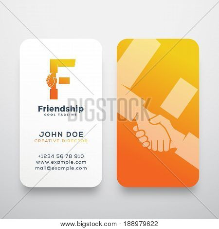Friendship Abstract Vector Sign, Symbol or Logo Template and Business Cards. Hand Shake Incorporated in Letter F Concept Stationary. Isolated.