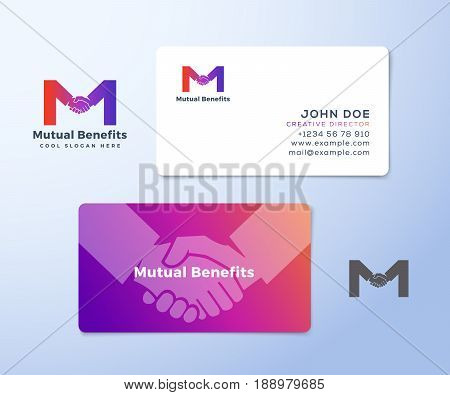 Mutual Benefit Abstract Vector Sign, Symbol or Logo Template and Business Cards. Hand Shake Incorporated in Letter M Concept Stationary. Isolated.