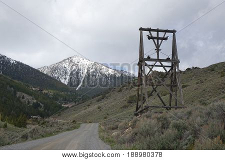 White Knob Mountains and Aerial Tram Tower, once used to transport ore from mine down to Mackay, Idaho.