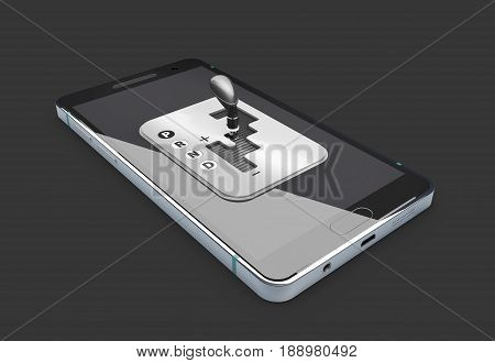 3d Illustration of Smartphone with gear shift. isolated balck