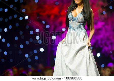Fashion Show Runway Beautiful Blue Dress