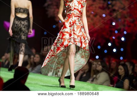 Fashion Show Runway Beautiful Red Dress