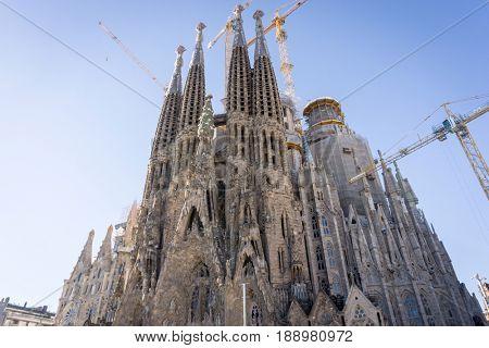 BARCELONA SPAIN - February 9, 2017: Sagrada Familia in Barcelona, is the capital city of the autonomous community of Catalonia in the Kingdom of Spain,February 9, 2017 in Barcelona Spain.