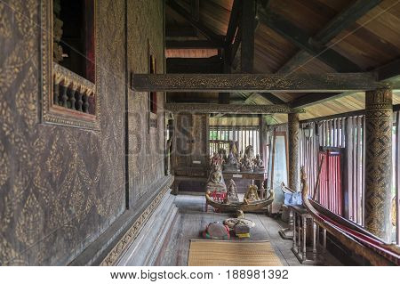 Interior Wall Decoration With Gilded Black Lacquer Or Lai Rod Nam Inside Ho Trai Or The Buddhist Scr