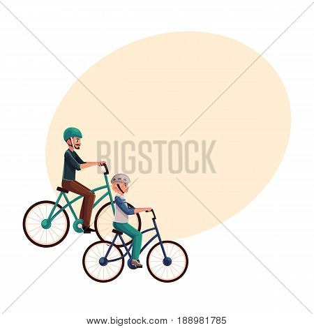 Young man riding bicycle, cycling together with his teenage son, cartoon vector illustration with space for text. Full length, side view portrait of father and son riding bicycles, cycling
