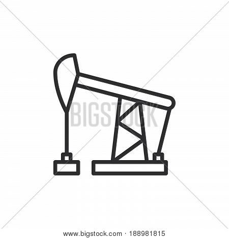 Oil pump jack line icon outline vector sign linear style pictogram isolated on white. Symbol logo illustration. Editable stroke. Pixel perfect