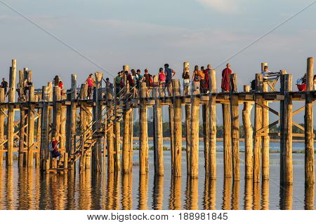 Amarapura, Myanmar - September 30, 2016: Famous U-Bein bridge in Amarapura near Mandalay, Myanmar