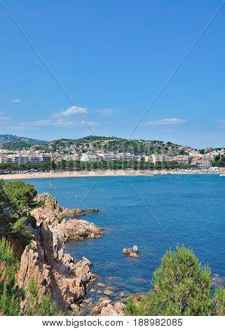 Sant Feliu de Guixols at Costa Brava,mediterranean Sea,Catalonia,Spain
