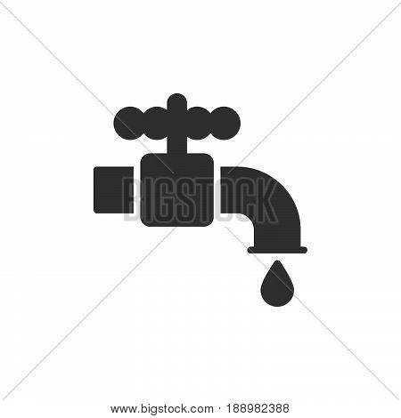 Plumbing water tap icon vector filled flat sign solid pictogram isolated on white. Symbol logo illustration. Pixel perfect