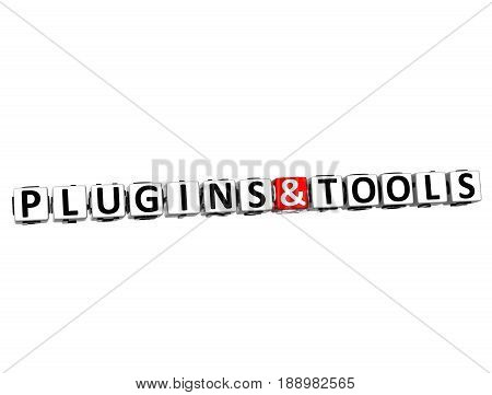 3D Block Text Plugins And Tools Over White Background.