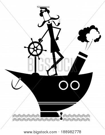 Mustache captain of the ship isolated on white. Brave captain with a pipe standing on the ship