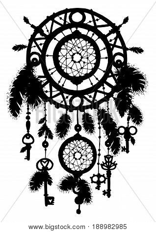 Native american ethnic dreamcatcher silhouette with beads and feathers. Tribal talisman. Vector art