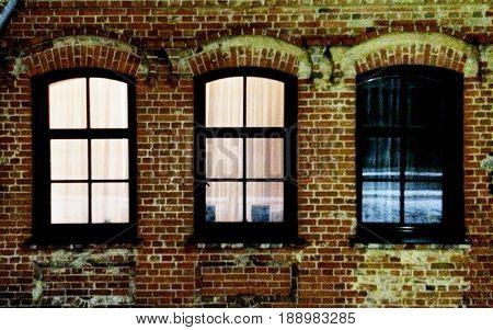 Windows light rhythm in the dark winter night