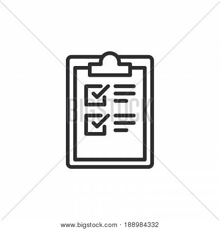 Clipboard checklist line icon outline vector sign linear style pictogram isolated on white. Symbol logo illustration. Editable stroke. Pixel perfect
