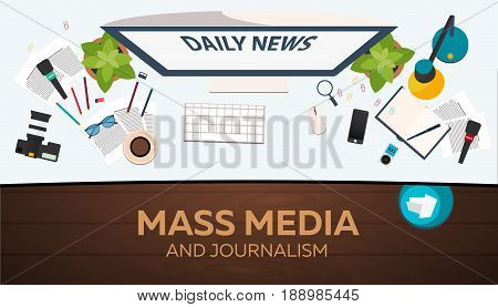 Mass Media And Journalism. Work Place. Vector Illustration.
