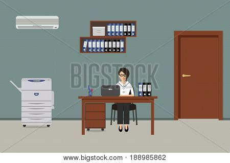 Workplace of office worker. The young woman is an employee at work. There is a table, a copy machine, shelves for documents and other objects in the picture. Vector flat illustration.