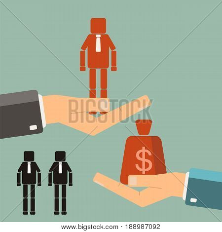 recruitment concept. Businessman buying worker. vector flat